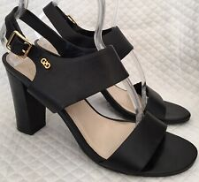 COLE-HAAN Black Leather Heels with Ankle Strap** Size 8.5 B