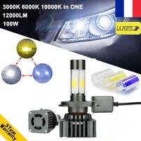Améliorée 100W H4 H/L LED Ampoule Voiture Feux Phare Lampe Kit Jaune Blanc Bleu