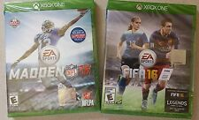 XBOX ONE MADDEN 16 NFL FOOTBALL & FIFA 16 SOCCER VIDEO GAME LOT BOTH NEW