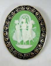 Cameo Brooch Women Figural Green Stone Ornate Goldtone Border Made Germany