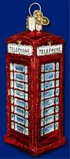 ENGLISH PHONEBOOTH OLD WORLD CHRISTMAS GLASS ORNAMENT TELEPHONE BOOTH NWT 20033