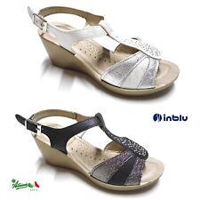 INBLU sandali donna solettaSOFT comodi cinturino fibbia zeppa media strass DN 46