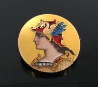 Antique 0.05ct Rose Cut Diamond & Enamel 18K Gold Dragon Valkyrie Pin