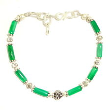NATURAL GREEN ONYX BEADS GEMSTONE SILVER PLATED BEAUTIFUL BRACELET 8.9 GRAMS