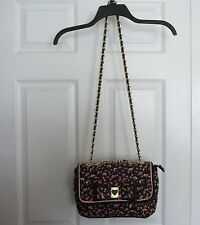 Betsey Johnson Black Artful Print Bow Chain Trim Crossbody Purse Shoulder Bag