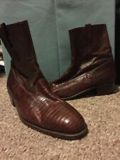 BALLY Genuine Lizard Boots Brown Side Zip Ankle Sz 8.5 Italy.