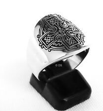 IRISH KNIGHT CELTIC CROSS CHRISTIAN MEDIEVAL MEN'S RING 925 Silver ALL SIZES