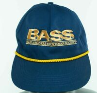 B.A.S.S.  Bass Anglers Vintage Snapback Hat Cap Gold Rope Trim Blue Made in USA