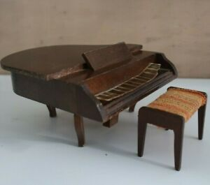 GRAND PIANO & STOOL vintage 1970s LUNDBY Sweden DOLLS HOUSE
