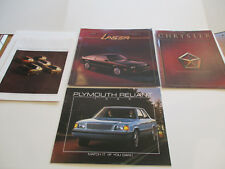 Lot of 4 1985 Chrysler Plymouth Sales Brochures