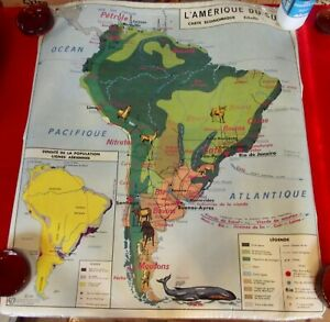 Old Map School Poster MDI Amérique du Sud Afrique Politique 1960 Café Lamas