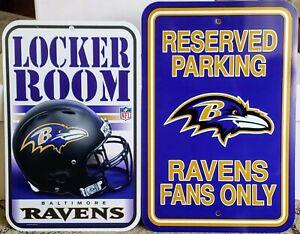 Set Of 2 BALTIMORE RAVENS Signs - Locker Room & Reserved Parking Fans Only - NFL