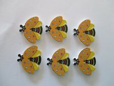 6 x 20mm Wooden BUTTONS -Flying Beetles- Gold - Sewing or Scrapbooking No1296