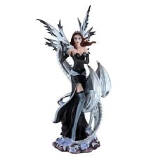 "Black Fairy With White Dragon Figurine Statue 10.5"" High Resin New In Box!"