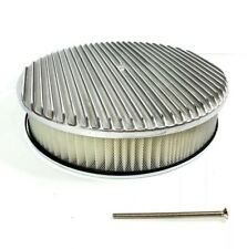 """Finned 14"""" X 3"""" Round Polished Aluminum Air Cleaner Filter Chevy Ford SBC BBC"""