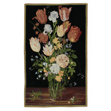 """NEW Large Black Chenille Vase Antique Art Wall Hanging Vintage Tapestry 27""""x42"""""""