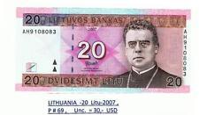 Lithuania - 20 Litu 2007 P#69 UNC!