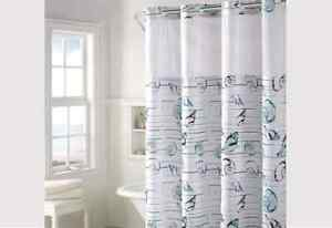 Hookless® Seashell Stripe Shower Curtain | Includes Snap On/Off Replaceable Line