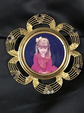 Vintage Brass Round Jeweled Picture Photo Frame