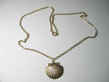 """Vintage Gold Tone Scallop Shell Necklace, 18"""", 1980's - Beach/Summer"""