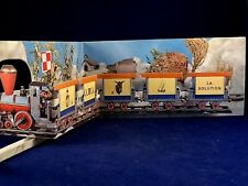 Ancienne carte animé relief pop-up rébus petit train interlude ORTF Brunot TV