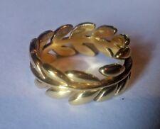 NWOT STS Signed Sterling Silver 925 Gold Toned Leaf Ring Size 6