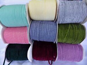 5 metres x 6mm  Velvet Ribbon: Select from 9 colourways
