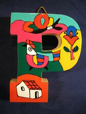 La Palma Folk Art from El Salvador Letter P Handcrafted from Recycled Wood