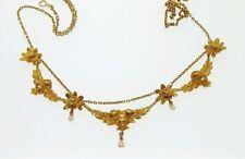 Antique French Art Nouveau 18K Gold Pearl Diamond Festoon Swag necklace 17.7 gr!