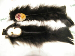 Beautiful Hand Crafted Hair Clip Black Feather Old Earrings Camero Flower Set 2