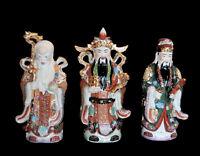 3 Saggi Cinese Dieu Fuk Luk Sau Fu Lu Shou IN Porcellana Da Cina H 40cm 4487