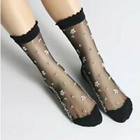 Summer Woman Socks Cool Crystal Silk Socks Short Tube Jacquard Socks UK
