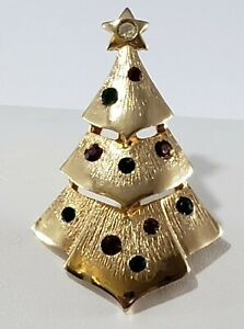 Christmas Holiday  Brooch Pin Signed I.S. Co Rhinestone Gold Tone UNIQUE Pendant
