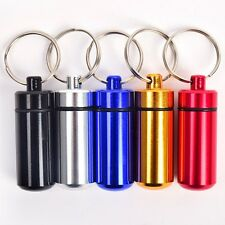 3PCS Blue Quality Metal Bottle Pill Shaped Waterproof Storage Medicine Keychain
