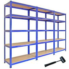 3 Racking Shelving Bays 5Tier Garage Unit Storage Racks Heavy Duty Steel Shelves