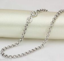 "New Real 18K White Gold Necklace 2.5mmW Perfect Rolo Link Chain 27.5""L/ 4.5-5g"