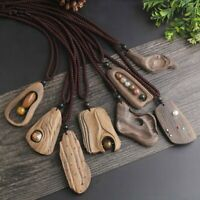 Hot Women Sandalwood Natural Stone Pendant Necklace Long Sweater Chain Jewellery