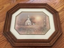 Octgonal Framed and Matted Country Church Print with Glass