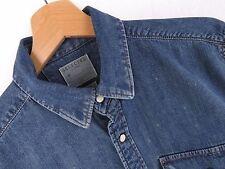 F104 Selected Camicia Maglietta Slim-Fit Jeans Poppers ORIGINALE Premium navy