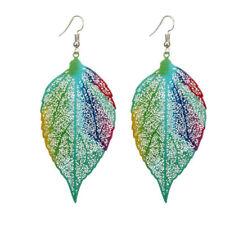 1 Pair Colorful Leaf Earrings Leaf Hoop Earrings Bohemian Hollow Leaves Earrings