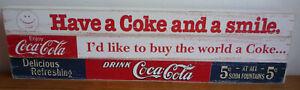 3 x Wooden Advertising Coca Cola plaques