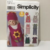 Simplicity 5317 Size 1/2-4 Toddlers' Jumper Top Pants Knit Top Hat