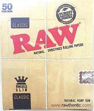 RAW CLASSIC KING SIZE SLIM CIGARETE ROLLING PAPER FULL BOX NATURALUNREFINED X50