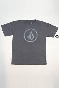 Volcom Boys T-Shirt Circle Logo Short Sleeves Crew Neck Charcoal Gray Sz XL NWT