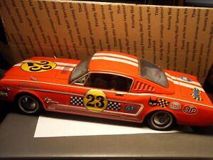 "RARE VTG TN NOMURA JAPAN FRICTION 15"" RED FORD MUSTANG RALLY GT TIN TOY CAR"