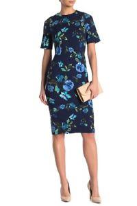 NEW Maggy London Floral Print Sheath Blue Dress Stretch Size 6 NWT JEWEL NECK