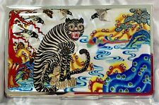 business card holder, Mother of pearl gift,  Tiger Magpie