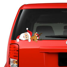 Santa & Reindeer Peeking on Board Funny Novelty Car Bumper Window Sticker Decal