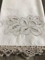 Vintage Embroidered Crochet Single Standard Pillowcase Beige Cotton
