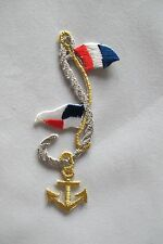 """#2836 3-7/8""""H Gold Anchor,Silver Rope,Flag Embroidery Iron On Applique Patch"""